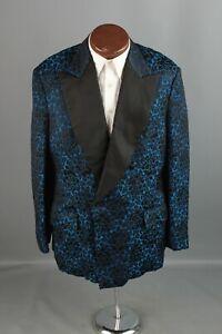 Vtg-Men-039-s-1960s-1970s-Blue-Black-Brocade-Tux-Jacket-L-Long-60s-70s-Floral-6449