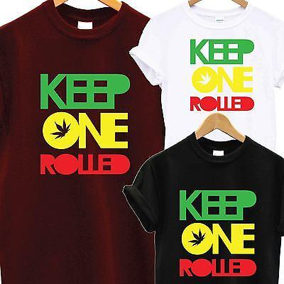KEEP ONE ROLLED T SHIRT TEE TOP RASTA GANJA WEED FASHION DOPE SMOKE DRAKE YMCMB