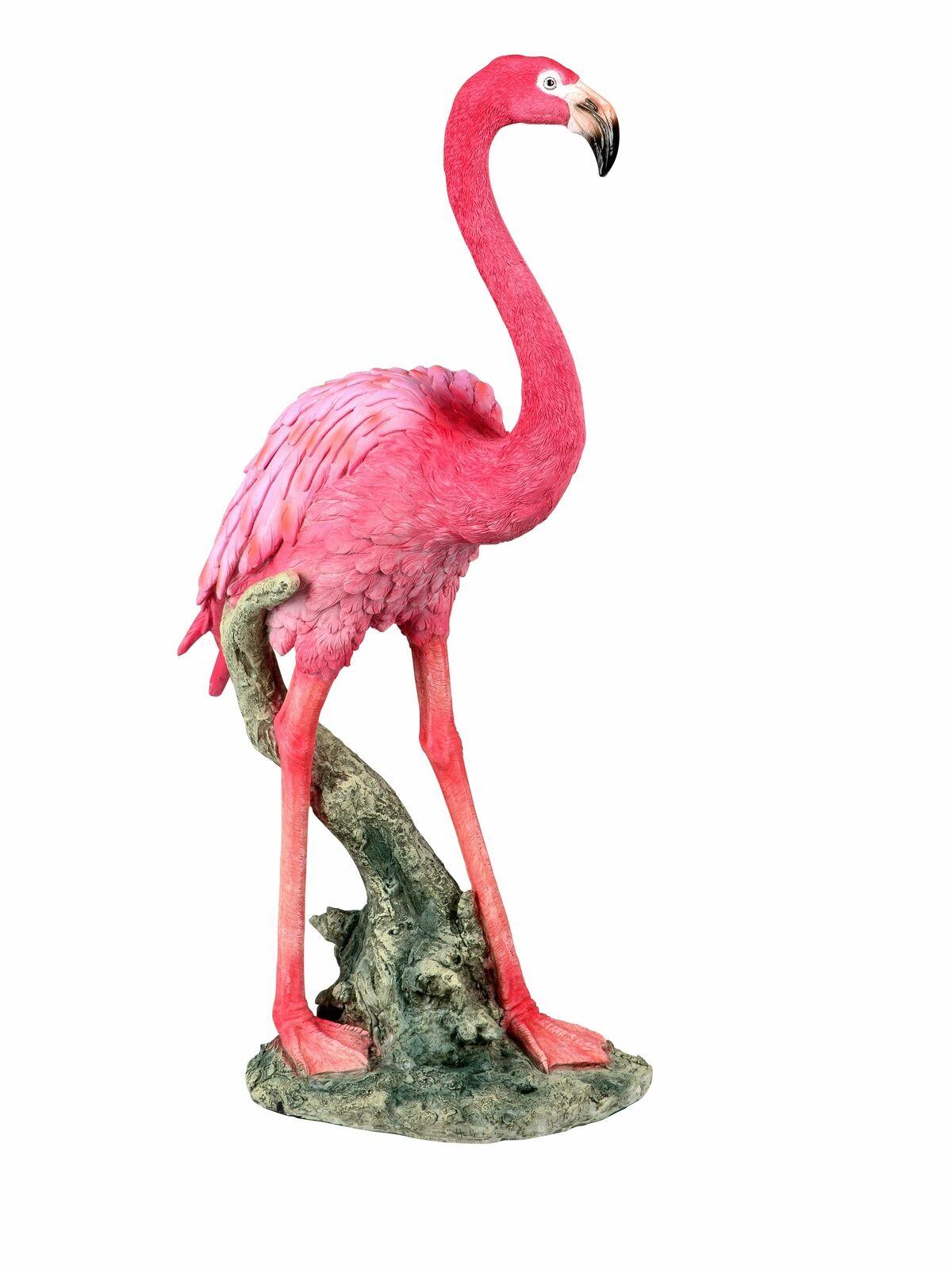 Moderna Scultura Da Giardino Giardino Figura Scultura FLAMINGO da arte pietra rosa altezza 53