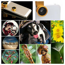 Black 3in1 Clip-on Fish Eye Lenses Wide Angle Macro Mobile Phone Lens Universal