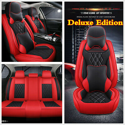 Red Black Pu Leather Car Seat Covers Cushion Full Set Deluxe