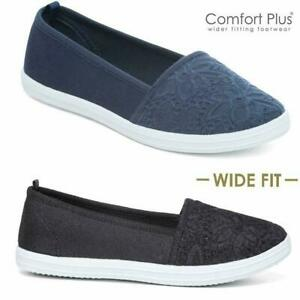 Ladies-Canvas-Shoes-Summer-Ballerina-Boat-Deck-Comfort-Driving-Shoes