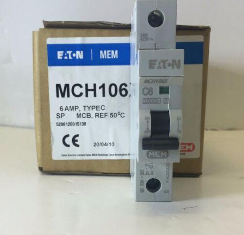 Eaton MEM MEMSHIELD 2 MCH106 6 A type C disjoncteur 10kA Memera 2000 Disjoncteur