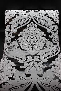 vlies tapete barock muster ornament schwarz grau glitzer effekt klassisch ebay. Black Bedroom Furniture Sets. Home Design Ideas