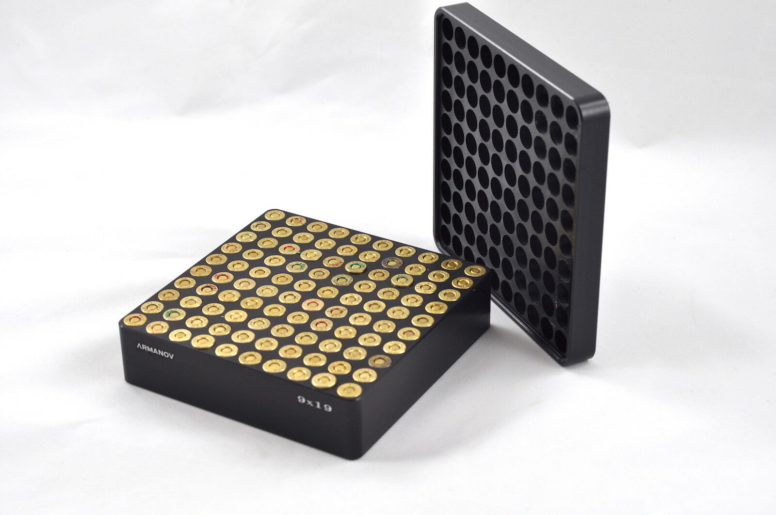 Aluminum Case Gauge box 100 rnd. with Flip Cover   9x19, .40S&W, .45ACP
