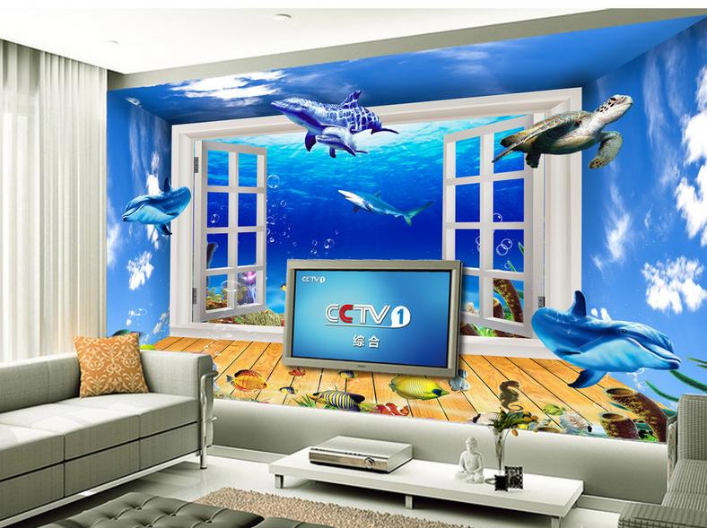 3D Aquarium Fenster 863 Tapete Wandgemälde Tapete Tapeten Bild Familie DE Summer