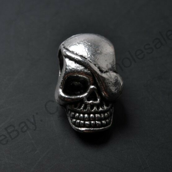 5pcs Tibetan Silver Charms Skull Loose Spacer Beads 20X13MM CA827