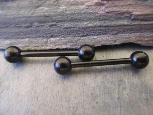 Full Set of 2 Black Barbell Nipple Piercings 14G 1.6mm Gold Rose Gold Steel