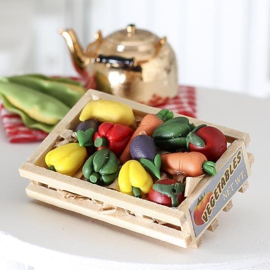 Miniature Vegetable Crate w Vegetables Fairy Gnome Garden DA 2318-35