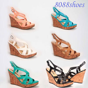 Women-039-s-6-Colors-Strappy-Open-Toe-Platform-Wedge-Sandal-Shoes-Size-6-11-NEW