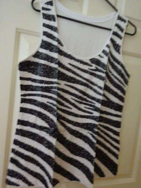 NEW Garnet Hill Ladies Embellished Zebra Design Tank Top Size Large 12 - 14