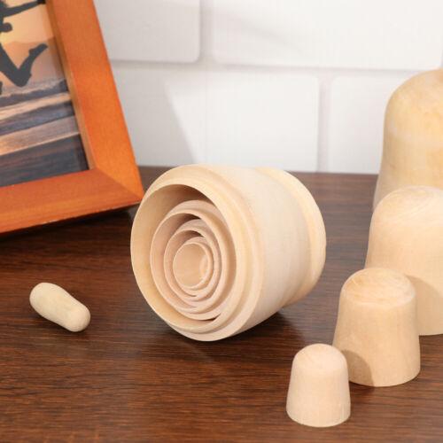 5Pcs DIY Matryoshka Dolls Unpainted Wooden Russian Nesting Dolls for Crafting