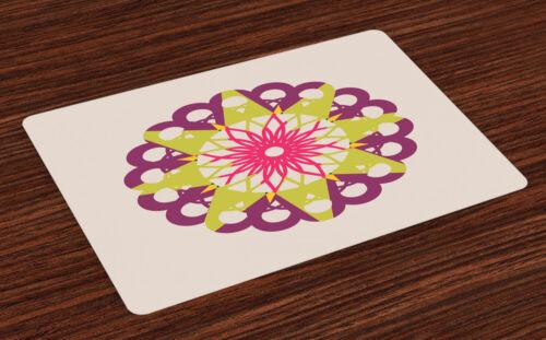 Mandala Love Placemats Set of 4 Washable Fabric Place Mats Decoration