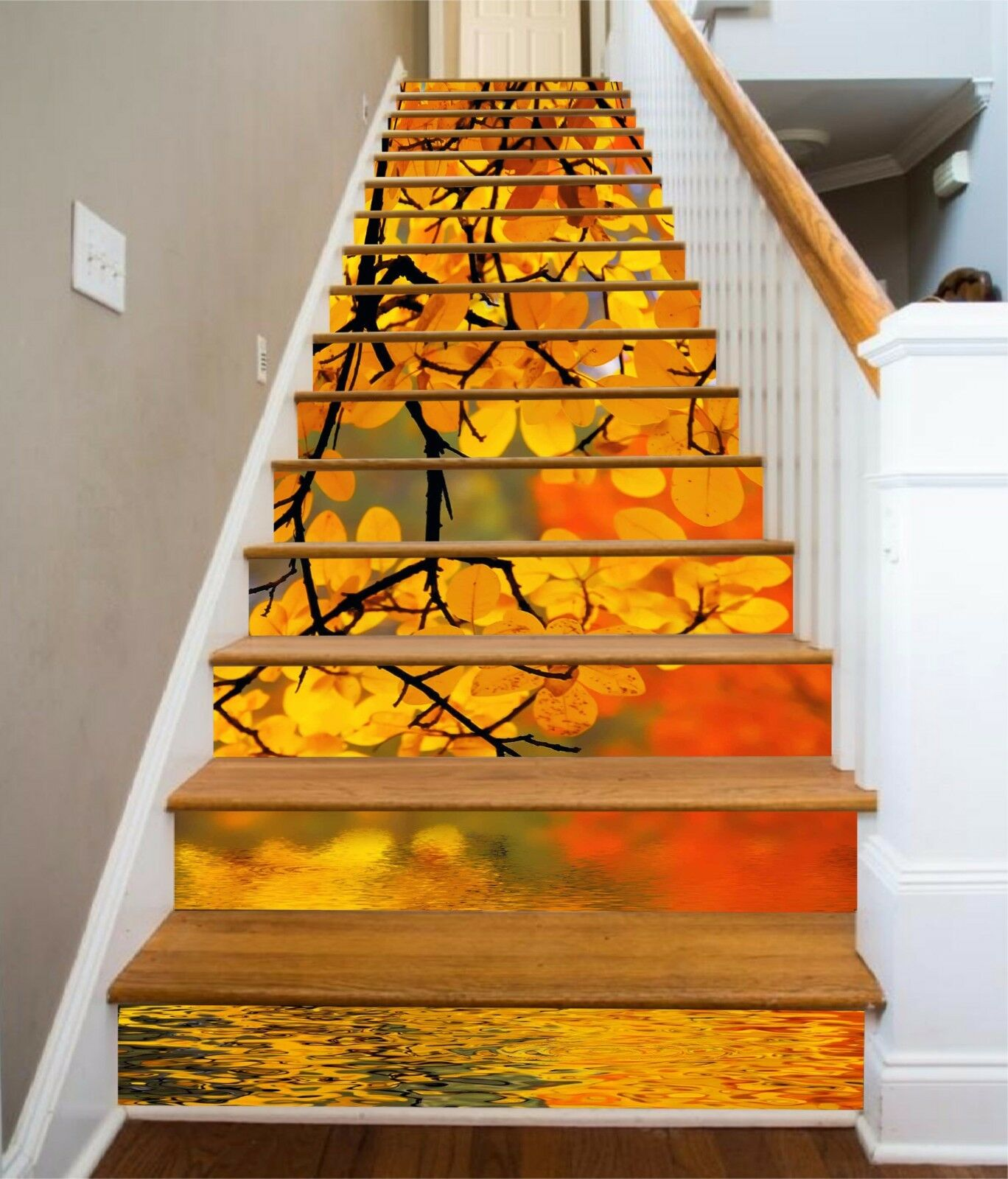 3D Gelb leaves 35 Stair Risers Decoration Photo Mural Vinyl Decal Wallpaper UK