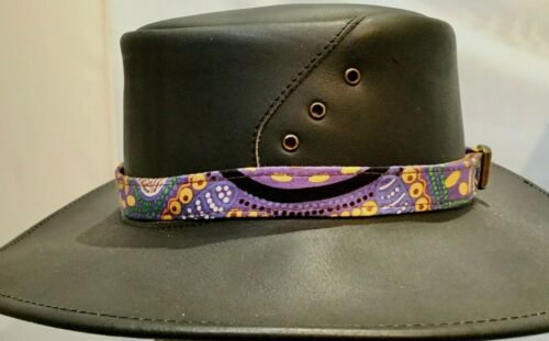 Genuine Aboriginal Print Cotton Hat Band Adjustable  Fits most Hats Australia