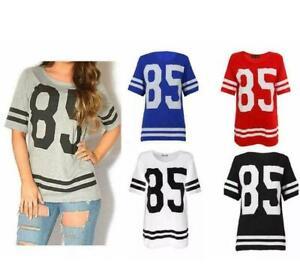 Womens Ladies American Football Baseball 85 Varsity T-shirt Jersey Top Size 8-14