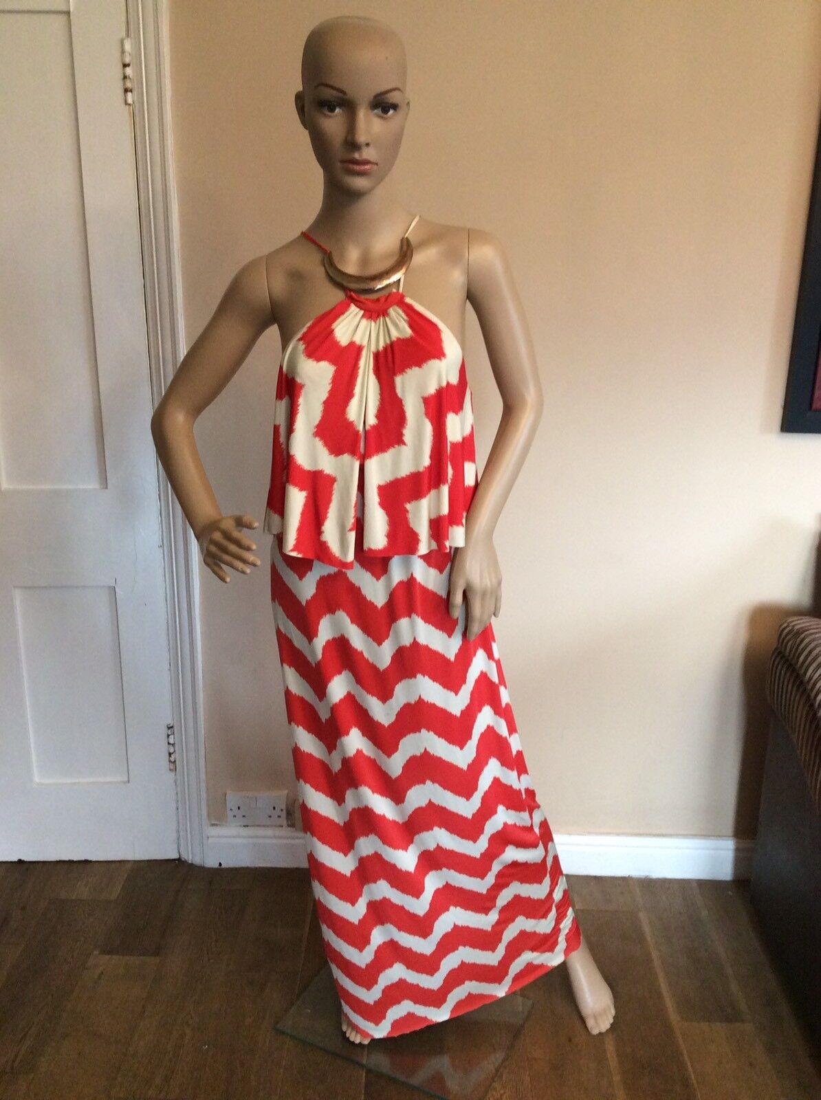 Teabags Of Los Angeles Long Maxi Dress Size S Small Red & Ivory