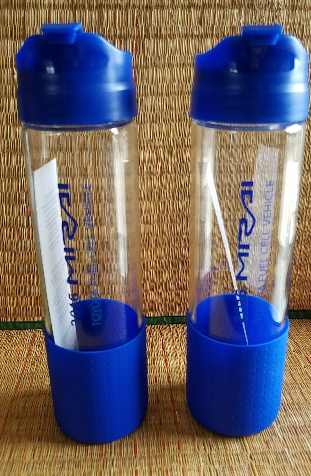 Two (2) H2GO Toyota Mirai Glass Water Bottle 18 oz - New