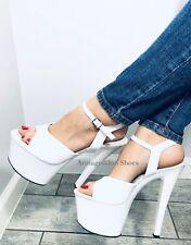 """7/"""" Pink Rose Gold Platform Stripper Heels Pole Fitness Class Dance Shoes Pleaser"""