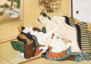 Repro Japanese Woodblock Shunga Style Print - #06