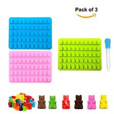 Pack of 3 Silicone Gummy Bear Molds 50 Cavities Maker Tray - ONE BONUS DROPPER