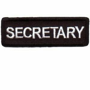 Secretary Position Rank Red//Black Motorcycle Jacket Embroidered Patch