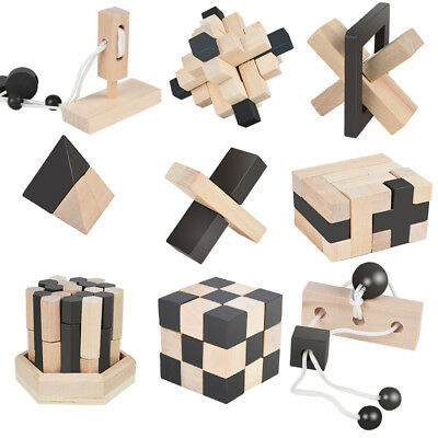 3d Iq Puzzle 9 Mini Holz Puzzlespiel Knobelspiele Geduldspiel Rätselspiel