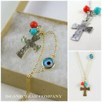 All Seeing Eye Cross Hammered Finish Silver Rose Gold Necklace Pendant Pearls Iw