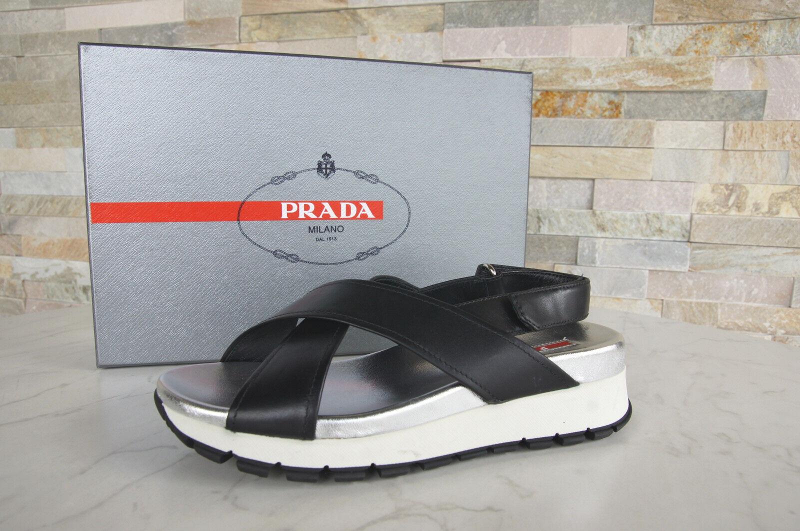 PRADA TAGLIA 40 Sandali 3x6022 Scarpe Velcro Nero Argento Bianco Nuovo UVP