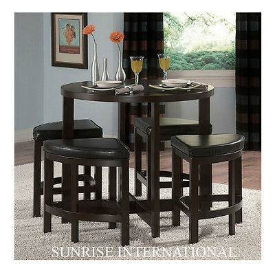 Contemporary Wooden Dining Bar Table with 4 Cushioned stools chair (SUN-DSET622)