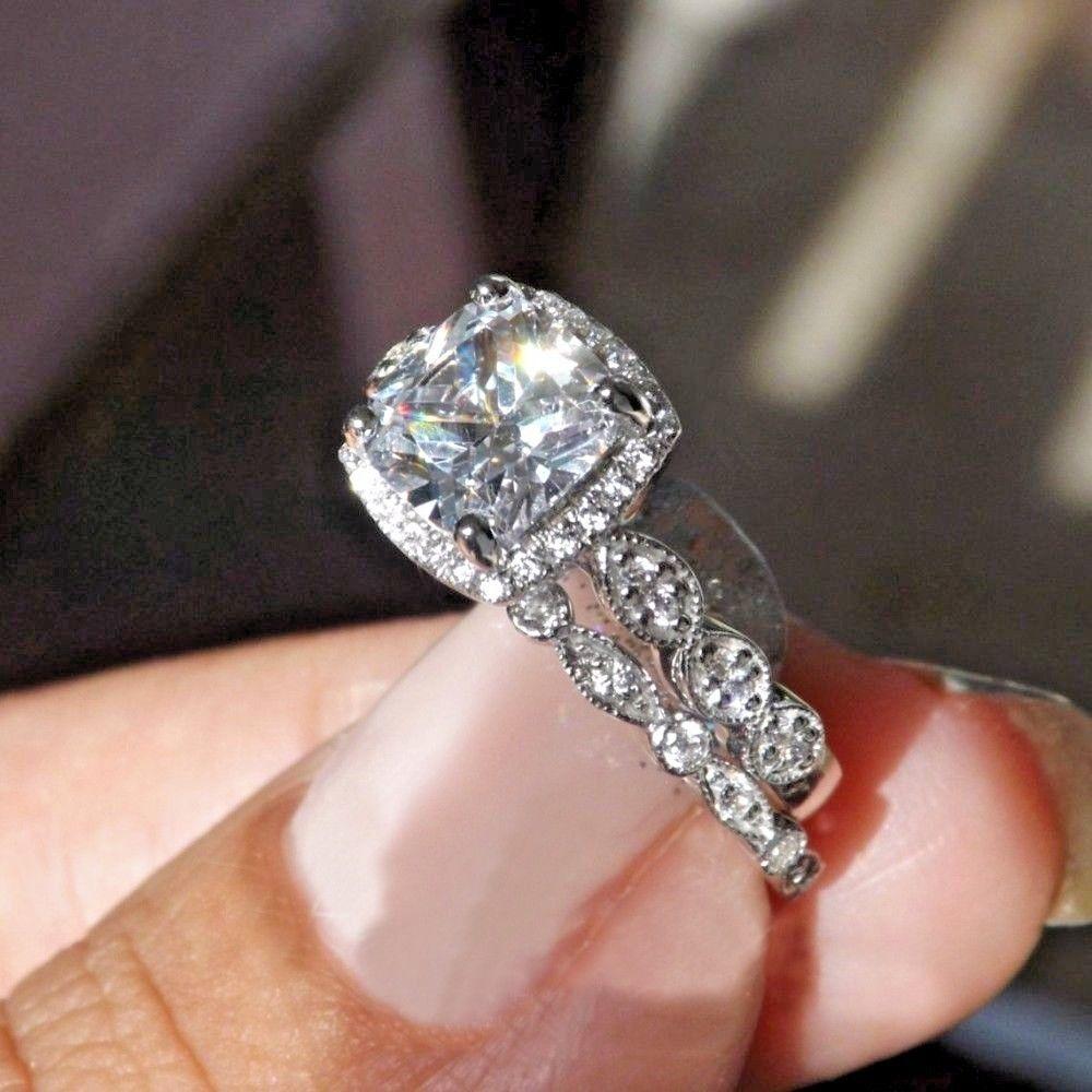 Certified 2.50Ct Cushion Diamond Halo Bridal Set Engagement Ring 14k White gold