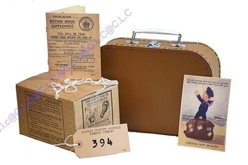 Wartime Memorabilia-1940/'s Suitcase-Ration Book-Postcard-Gas Mask Box-New.Label