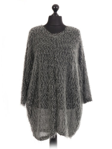 New Italian Ladies Lagenlook Faux Fur Knitted Glittery Top Size 16 18 20 22 24