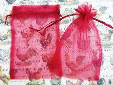"50 Drawstring 4""x6"" Big Organza Gift Bag/Wedding/Holiday Favors/Red NO4-Burgundy"