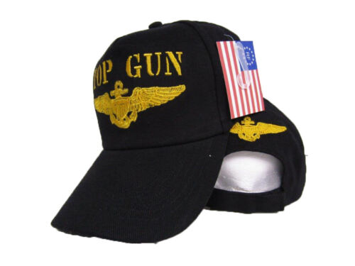 Ricamato Colore Nero Militari Marina USA Top Gun Cappellino Baseball Cotone //