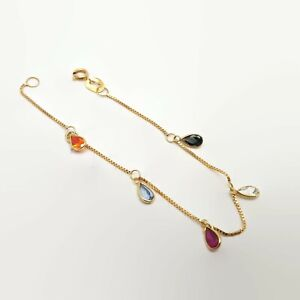 18k-Yellow-Gold-Multi-Gemstone-Child-039-s-Bracelet-5-034
