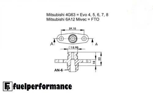 -6 JIC an-06 combustible Ferrocarril Adaptador Mitsubishi Lancer Evo 4g63 y 3000gt Un 6