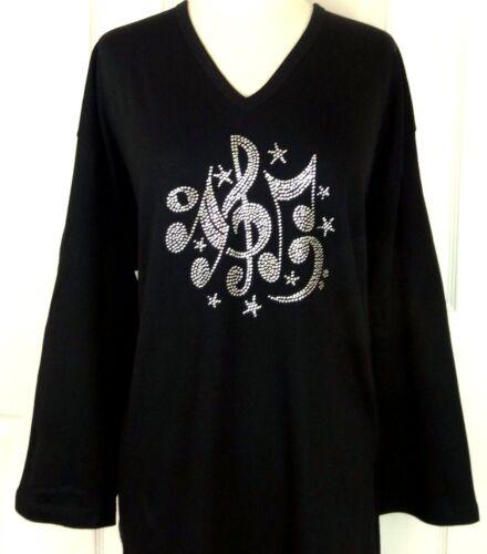 X-LARGE 3//4 Sleeve V-Neck Top Rhinestone Embellished Music Notes Swirls /& Stars