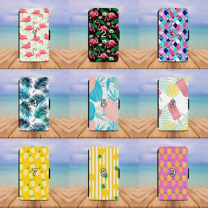 Summer-Floral-Flamingo-Palm-Leaf-Wallet-Phone-Case-Galaxy-S6-S7-S8-Edge-Plus