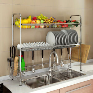 Details About Stainless Steel Over Sink Dish Drying Rack Bowl Shelf Kitchen Cutlery Holder New