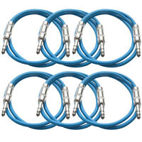 Seismic Audio 6 Pack Blue 1/4 Trs 2' Patch Cables on sale