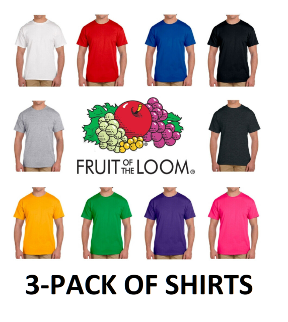 Fruit of the Loom Mens 6 Pack V-Neck T-Shirt 3 Ath Heather // 3 Charcoal XXL