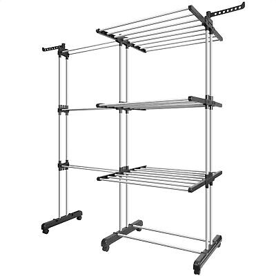 Metal Foldable 3 Tier Clothes Airer Outdoor Laundry Tower Dryer Hanger Stand UK