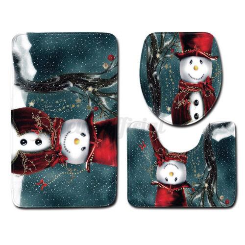 US Snowman Shower Curtain Anti-slip Pedestal Toilet Seat Mat Lid Bath Mat  §