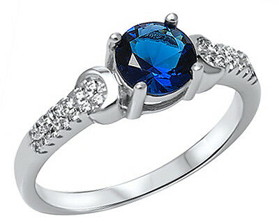 .925 Sterling Silver Round Blue Sapphire CZ Accent Ring RC911
