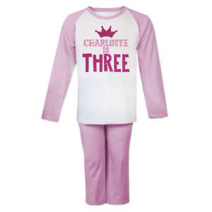 Personalised Name is Three Birthday Pyjamas Birthday Children/'s Pjs Birthday 3
