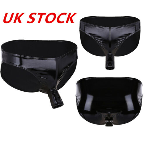 UK Mens Shiny Patent Leather Thongs Open Penis Sheath Panty Underwear Lingeries