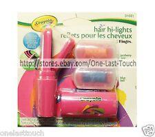 CRAYOLA* 3pc Set HAIR HI-LIGHTS Temporary Color FING'RS Blue+Pink+APPLICATOR
