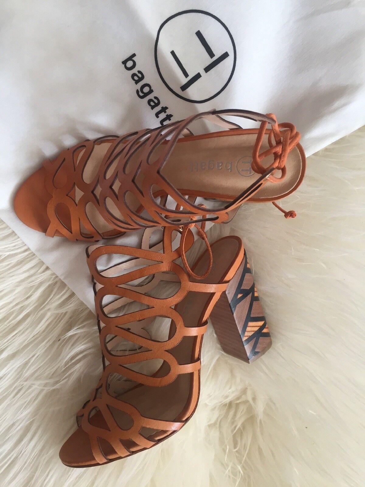Bagatt hermosa señora sandalias, muy zapatos de piel naranja oscuro