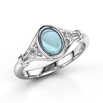 Fashion 925 Silver Jewelry Aquamarine Women Wedding Engagement Ring Size 6-10